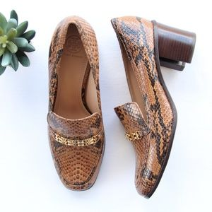 Tory Burch Gemini Link Snake Skin Loafers Heels 9